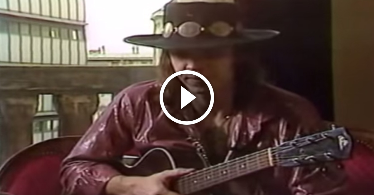 This rare footage of Stevie Ray Vaughan jamming out acoustic blues is awesome